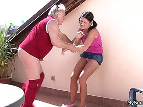 family porn - Older man fucking younger woman from behind