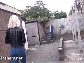 blonde porn - Blonde milf Atlantas public flashing and outdoor exhibitionism of daring voyeur