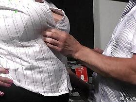 boss porn - Plumper in fishnets rides her older boss cock