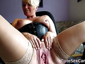 amateur porn - Short Haired Blonde amateur MILF Spreading and Masturbating Pussy on Webcam