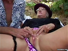 granny porn - Granny gets fucked by hard outdoor