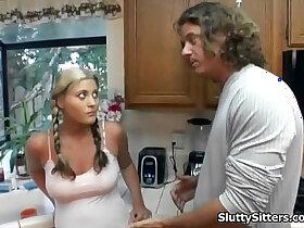 babysitter porn - Busty babysitter fucks in the kitchen