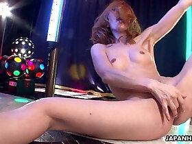 asian porn - Asian getting wild on the pole as she masturbates