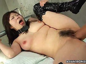 asian porn - Collared Asian endures rough fingering and a nipple torture