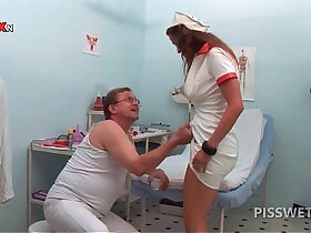 nurse porn - Hot nurse pissing in a glass for gynecologists exam