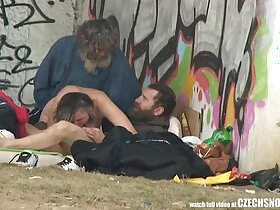 3some porn - Pure Street Life Homeless Threesome Having Sex on Public