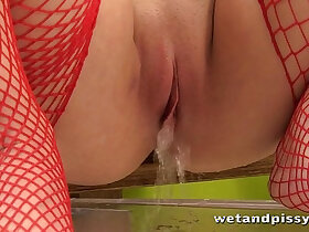 big boobs porn - Big boob girl plays in her own piss puddles