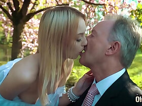 blonde porn - Young blonde moaning fucking an old man she swallows his cumshot