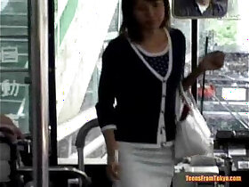 asian porn - A young Asian cam girl enters a public bus and sits down from pornvideo.rodeo