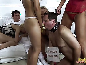 blowjob porn - Mistresses Feed Banana To Cuckold Frank For Blowjob Lesson