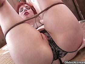 american porn - Redheaded milf Amber Dawn masturbates outdoors