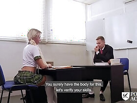 foot porn - PORNO ACADEMIE Hot school girl Lara Sins gives footjob and gets pussy fucked hard and deep