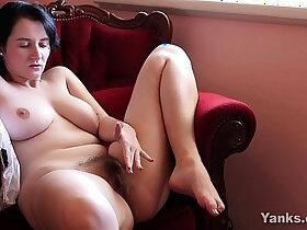 brunette porn - Busty Brunette Masturbating Her Hairy wet Pussy