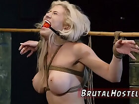 anal porn - Bondage anal gang rough and blowjob swallow Big breasted blond hottie