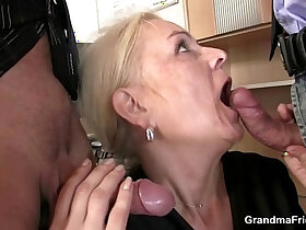 cock porn - Mature swallows two cocks for work