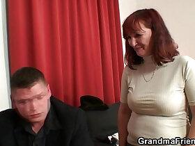 big cock porn - Poker playing granny swallowing two big cocks