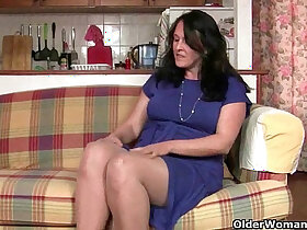british porn - British granny works her pantyhosed old pussy