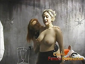 blonde porn - Kinky blonde has her massive tits tied up and squeezed