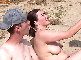 3some porn - Real party amateur threesome on the beach