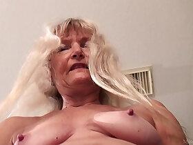 black porn - Skinny granny with black dildo FullHD