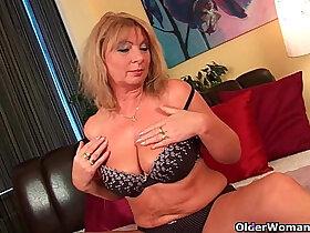big tits porn - Grandma Irena with her big tits fucks her oiled pussy