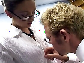 office porn - Secretary office sex in a bra garter and stockings