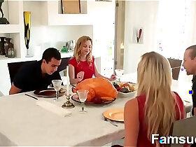 brother porn - Step Sister Sucks Fucks Brother During Thanksgiving Dinner