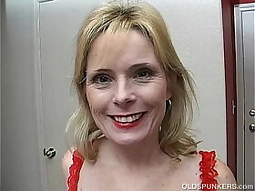 lady porn - Super sexy older lady in red plays with her wet pussy