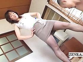 japanese porn - Japanese milf in pantyhose feet with subtitles