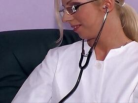 blonde porn - Blonde nurse fucking white stockings and heels