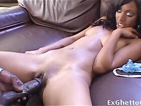 black porn - Slim ebony girl on a huge mamba black dick