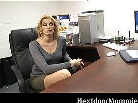 cock porn - Cougar secretary swallows hard long cock cum