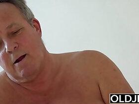 asian porn - Young asian Girl Vs Old Man Skinny blonde Teen taking facial from fat grandpa