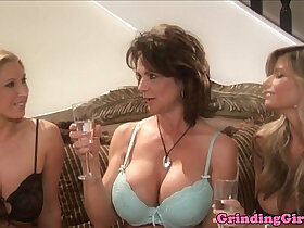 ass porn - Glam lesbians strapon assfuck in kitchen