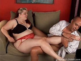 bbw porn - Kinky blonde BBW in stockings gives sexy footjob