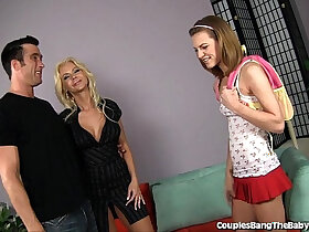 babysitter porn - Sweet Teen Babysitter Seduced By Horny Couple