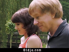 blowjob porn - Young Girl giving Blowjob For Old Man And Swallows