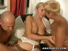 3some porn - Amateur homemade threesome with slut nasty Milfs